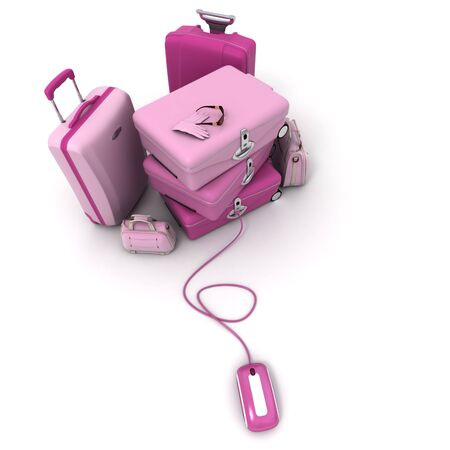Pink Luggage pile connected to a computer mouse. photo