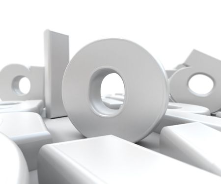untidy: 3D rendering of white letters of the alphabet in different positions
