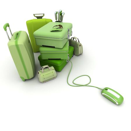 vanity bag: Huge green luggage including suitcases, briefcases, golf bag, connected to a computer mouse. Stock Photo