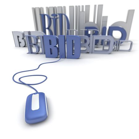 online trading: 3D rendering of the word BID connected to a computer mouse