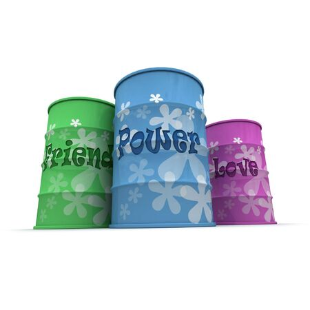 Three barrels with a hippie decoration with words friend, power and love written on them Stock Photo - 3251146