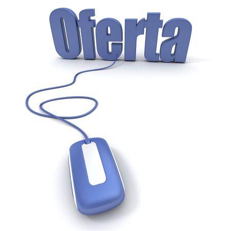 """Espa�ol palabra """"oferta"""", que significa ofrecer o la oferta, conectado a un rat�n del ordenador  Foto de archivo - 3257595"""