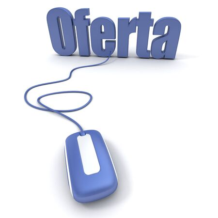 "online bidding: Spanish word ""oferta"" meaning offer or bid, connected to a computer mouse"