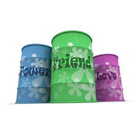 Three barrels with a hippie decoration with words friend, power and love written on them Stock Photo - 3257593
