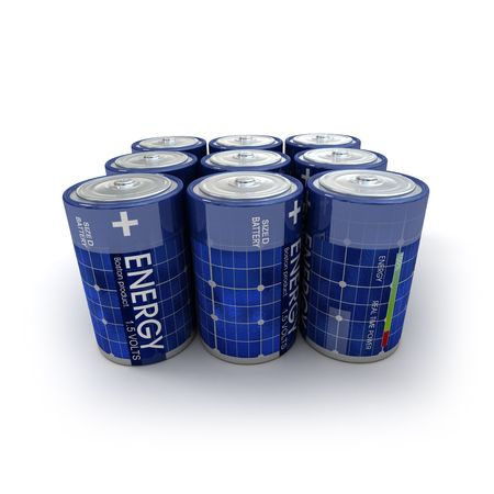 A group of 1.5 volts batteries with solar panel texture Stock Photo - 3272517