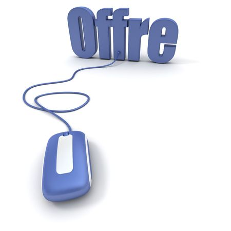 online bidding: French word �offre� meaning offer or bid, connected to a computer mouse