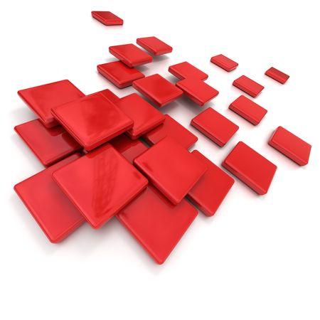 azulejos ceramicos: Renderizado 3D de azulejos de cer�mica roja  Foto de archivo