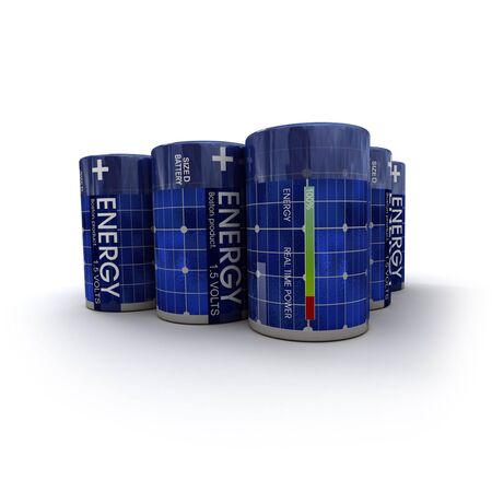 A group of 1.5 volts batteries with solar panel texture photo