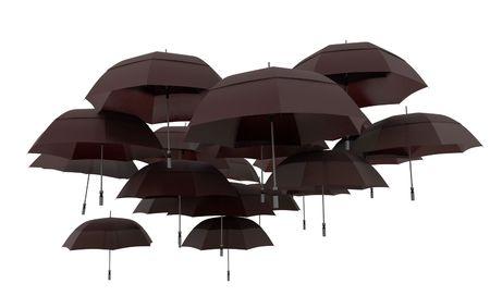midair: A group of black umbrellas flying in mid-air