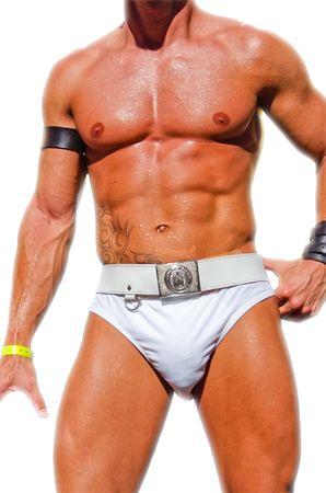 homosexuales: An�nimo participante en la Gay Pride aislados en blanco  Foto de archivo