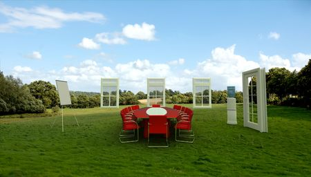 commercial event: Meeting room in  a country field Stock Photo