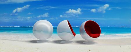 Designer seats in a Caribbean beach Stock Photo - 3342326