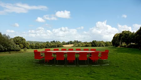 field event: Meeting room in  a country field Stock Photo