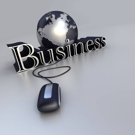 3D-rendering of a world globe a computer mouse and the word business in blue and silver shades photo