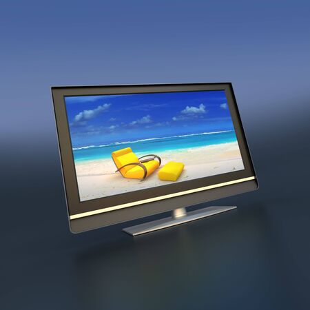 Flat screen monitor with relaxing images Stock Photo - 3563088