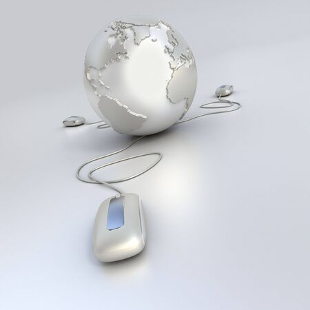 Silver and chrome Earth Globe connected with three computer mouses. Stock Photo - 3577426