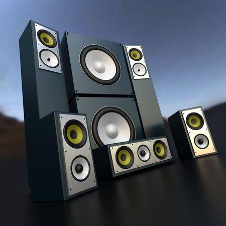stereo subwoofer: Audio equipment music in dark grey
