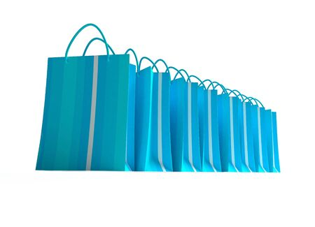 A line of blue striped shopping bags on a white background