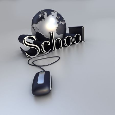 distance education: 3D-rendering of a world globe, a computer mouse and the world school in blue and silver shades