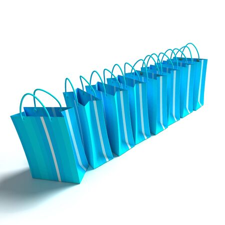 A line of blue striped shopping bags on a white  Banco de Imagens
