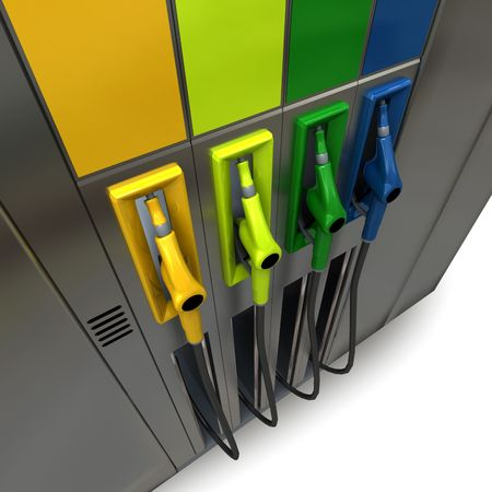 3D rendering of four brightly colored gas pumps Stock Photo - 3625558