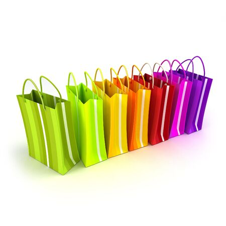 white paper bag: 3D rendering of high quality looking colorful stripped shopping bags against a white background