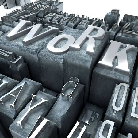 The word work written in print letter cases Stock Photo - 3625584