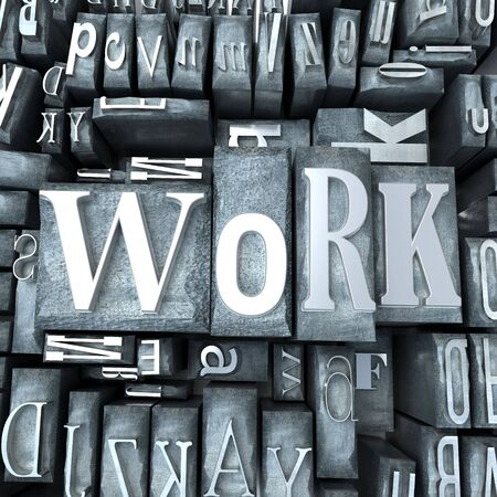 western script: The word work written in print letter cases
