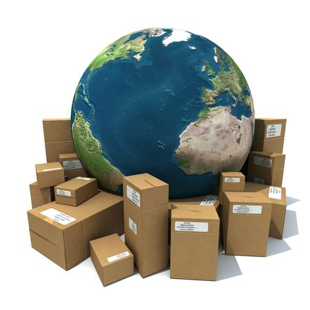 contain: 3D rendering of the Earth with a heap of cardboard boxes