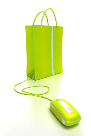 auction: green shopping bag connected to a computer mouse Stock Photo