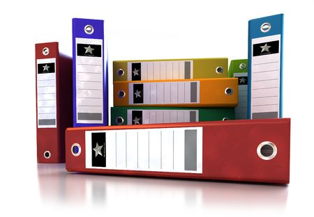 frontal view: Frontal view of a stack of colourful ring binders Stock Photo