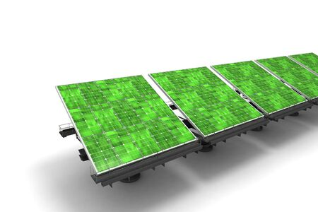 accord: Row of green solar panels against a white background