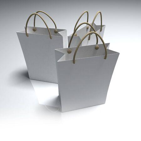 upscale: Three white upscale shopping bags with metallic handles Stock Photo