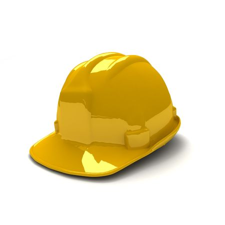 safety helmet: 3D de shinny nuevo casco de seguridad color amarillo