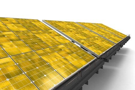 Row of yellow solar panels against a white background photo