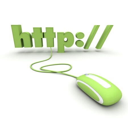 http: Http: connected to a computer mouse in green shades Stock Photo