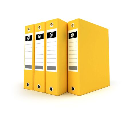 3D-rendering of a group of ring binders in yellow Stock Photo - 3729382