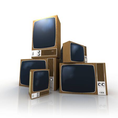 stacked: A pile of vintage televisions in different positions