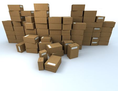 stockpiling: 3D rendering of Piled up cardboard boxes with white labels