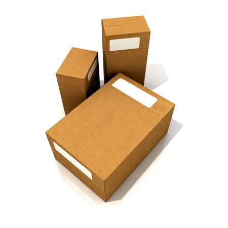 box size: 3D rendering of Three cardboard boxes in different sizes against a white background