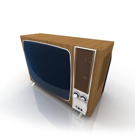 wood panelled: Vintage Television with wood-panelling Stock Photo