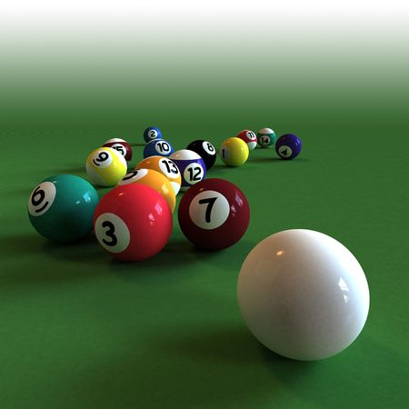 cue ball: Cue ball and all numbered billiard balls against a green felt table