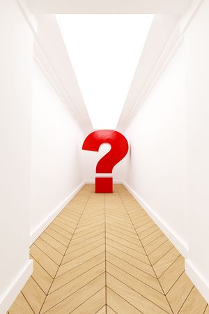 diminishing point: Question  mark at the end of a corridor Stock Photo