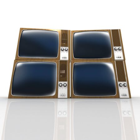 wood panelled: Four stacked vintage televisions against a white background Stock Photo