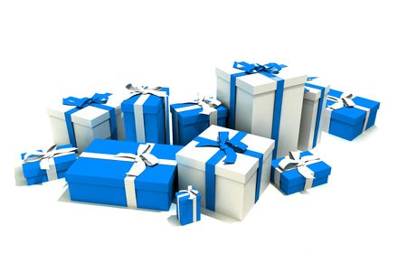 3D rendering of a big group of blue and white gift boxes with ribbons in different sizes photo