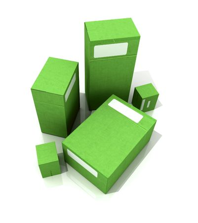 size distribution: 3D rendering of several green packages in different sizes