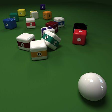 felt: Cubic billiard balls against a green felt table