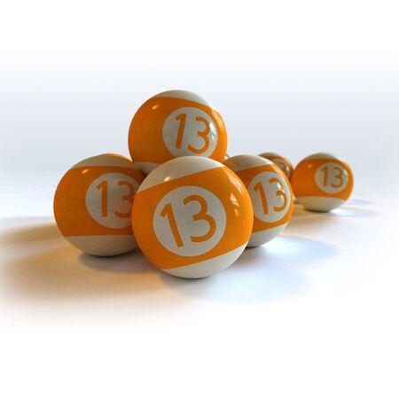 fluke: 3D rendering of orange billiard balls with number 13 Stock Photo