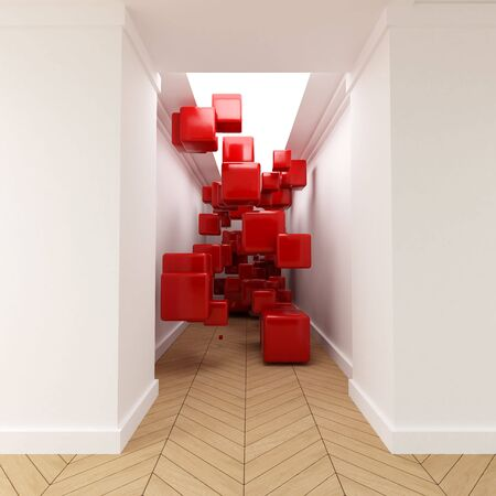 mid air: 3D rendering of red cubes floating in mid air in the middle of a corridor