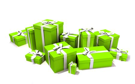 3D rendering of a big group of green gift boxes with a white ribbons in different sizes photo